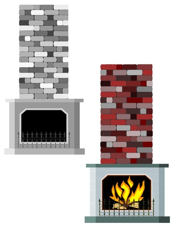 log wall: Vector illustration of fireplaces
