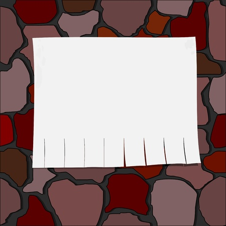 Vector illustration of a brick wall with paper Stock Vector - 12021504