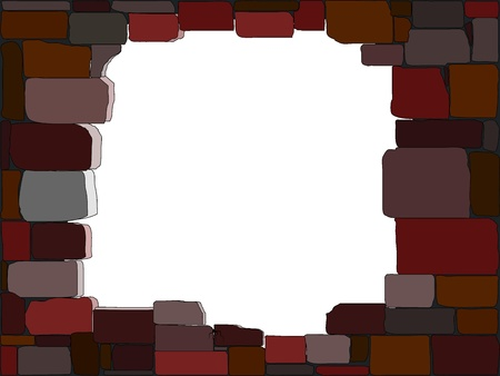 Vector illustration of a stone wall with a hole Vector