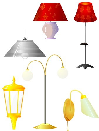 Collection of vector illustrations of lamps Stock Vector - 12021520