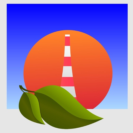 tsunamis: Nuclear power plant and leaf. vector  Illustration