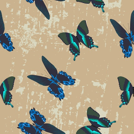 Seamless texture with beautiful butterflies  Vector