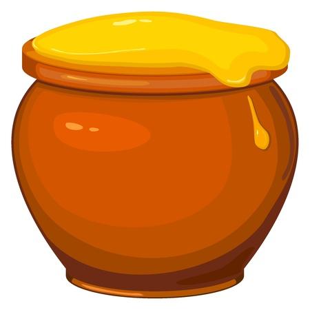 honey liquid: Vector illustration of cartoon pot of honey