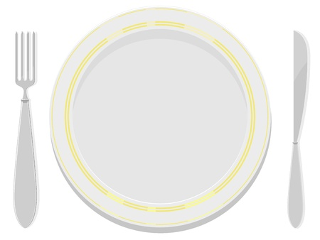 stoneware: Vector image  plates with a gold rim with a fork and knife