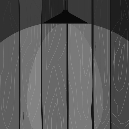 Vector  illustration of a wooden fence with a lamp Vector