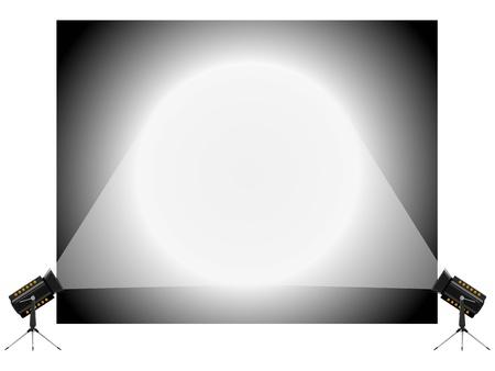 spotlight white background: Vector illustration of the stand and spotlights Illustration