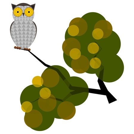 Vector illustration of an owl on a branch Vector