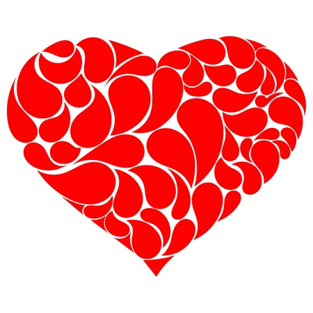 Red heart with drops Vector
