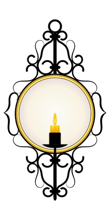 Candle and a mirror in a frame Stock Vector - 12397766
