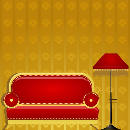 waiting room: Vector illustration of a sofa and a floor lamp