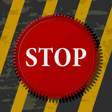 Vector illustration of a red stop button Vector
