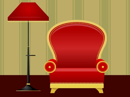 Vector illustration of a red chair and floor lamp Stock Vector - 12397806
