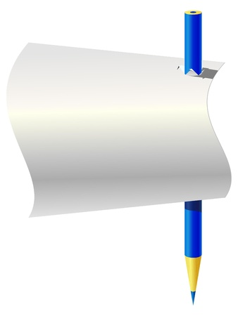 Blue pencil and a piece of paper Vector