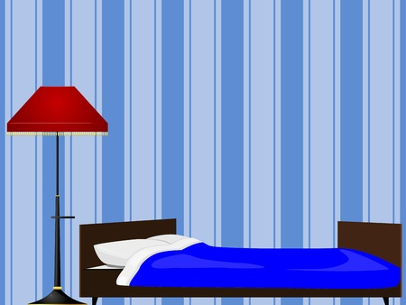 sleeping at desk: Bed and floor lamp Illustration