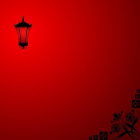 prostitue: Achtergrond met een rode lantaarn Stock Illustratie