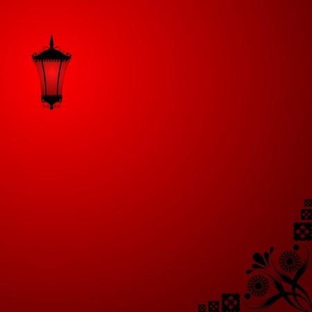 Background with a red lantern Stock Vector - 12870204