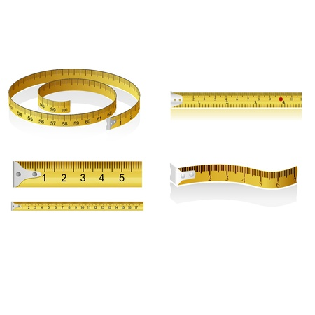 Conjunto de cintas métricas Ilustración de vector