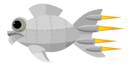 flink: Fantastische Metall Fisch Illustration