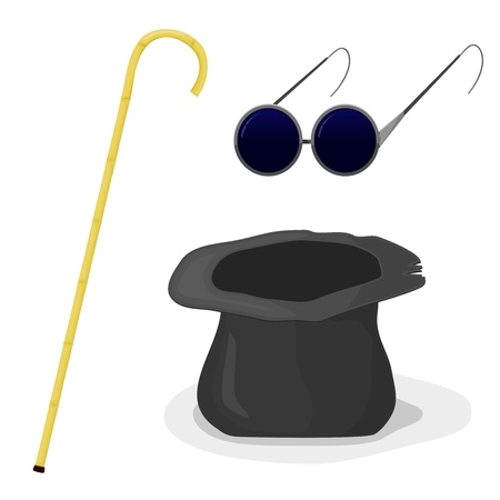 poor people: Hat, cane and glasses blind
