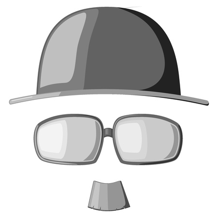 A set of images mustache, glasses and hats Vector