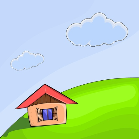 illustration of a small house on the hill Vector