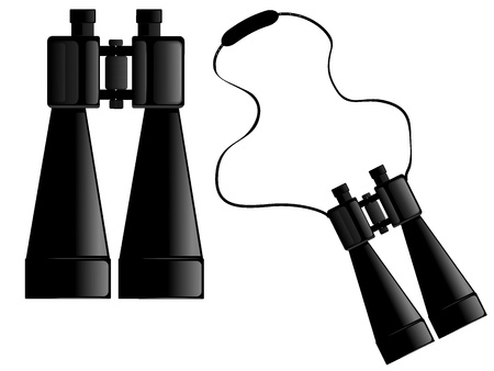 image of binoculars with strap Vector