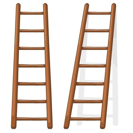 drabiny: ilustracja kreskówka z drewnianą klatką schodową