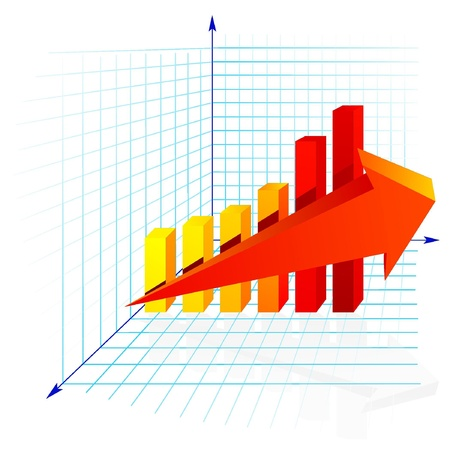 Diagram with a red arrow Stock Vector - 12976408