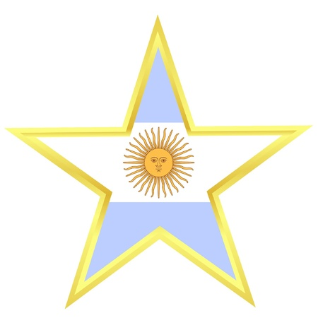 bandera argentina: Estrella de Oro con una bandera de la Argentina Vectores