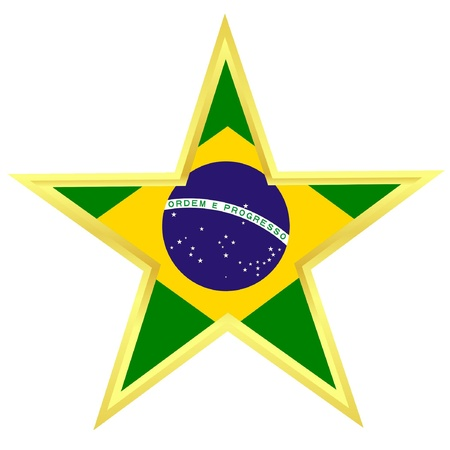 Gold star with a flag of Brazil  Stock Vector - 12976374