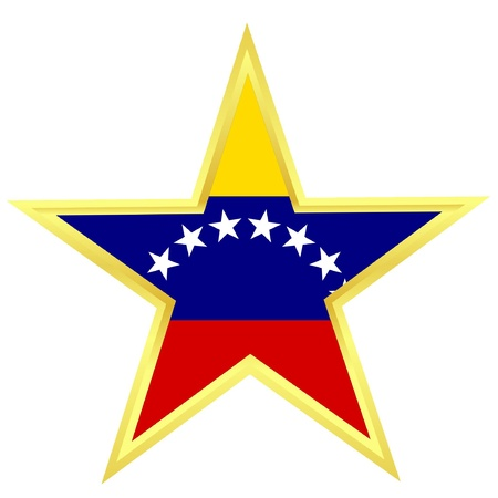 Gold star with a flag of Venezuela  Vector