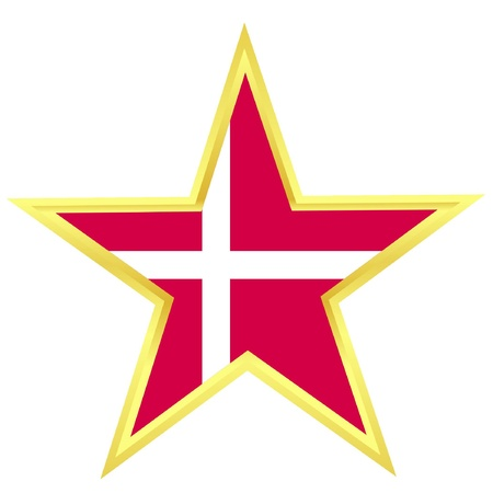 Gold star with a flag of Denmark