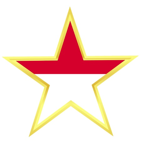 Gold star with a flag of Indonesia