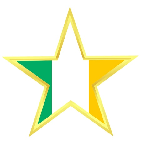 Gold star with a flag of Ireland  Vector