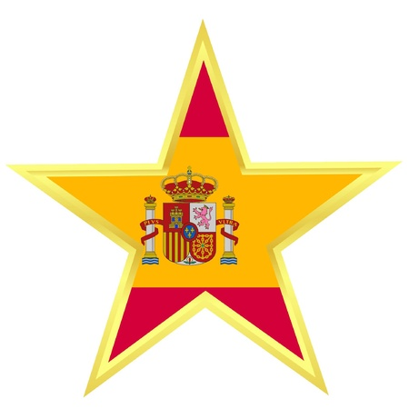 Gold star with a flag of Spain  Stock Vector - 12976416