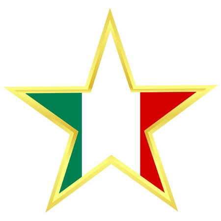 Gold star with a flag of Italy  Vector