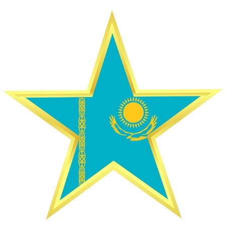 Gold star with a flag of Kazakhstan