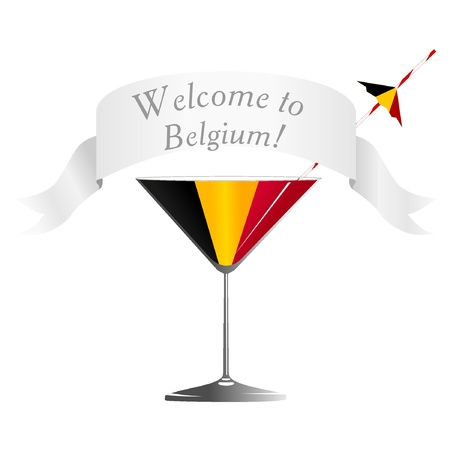 conveniently: Illustration glass with national symbolics Belgium