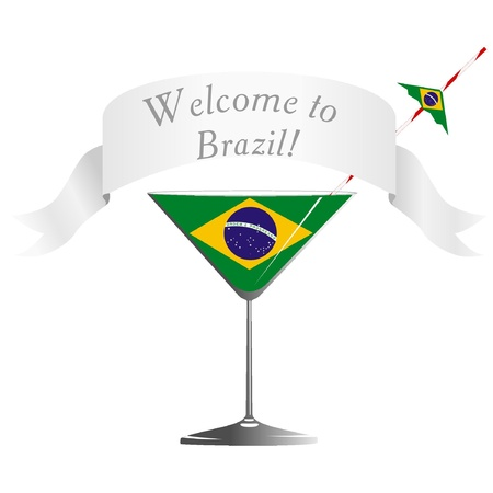 conveniently: Illustration glass with national symbolics Brazil