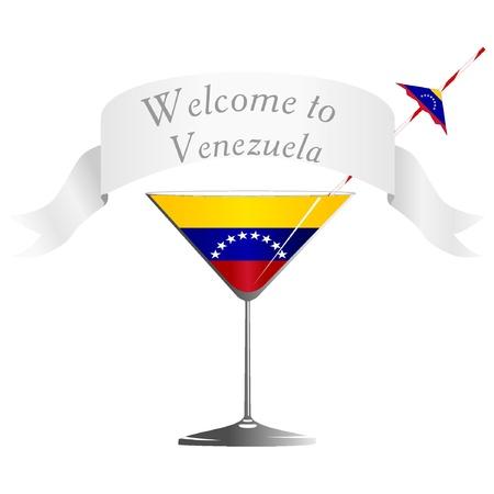 conveniently: Illustration glass with national symbolics Venezuela