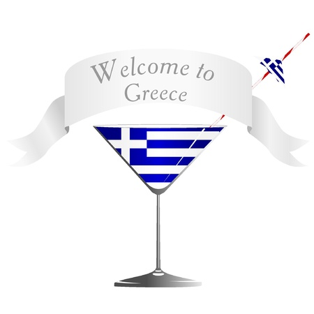 conveniently: Illustration glass with national symbolics Greece  Illustration