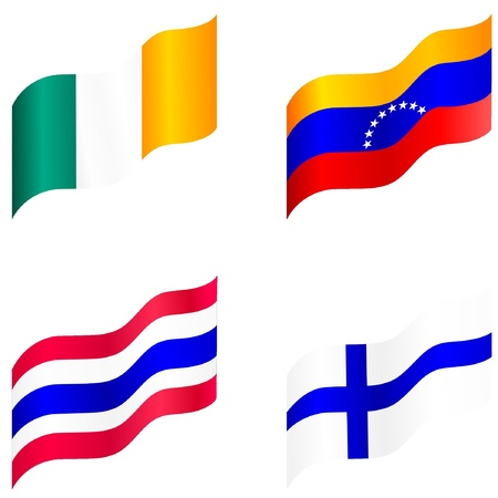 Set of flags of Ireland, Venezuela, Finland, Thailand Vector