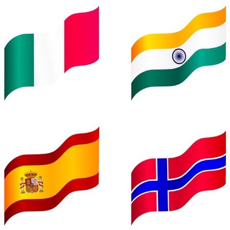 Set of flags of Spain, Italy, Norway, India Stock Vector - 12976417