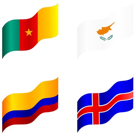 Set of flags of Cameroon, Cyprus, Colombia, Iceland Stock Vector - 12976371