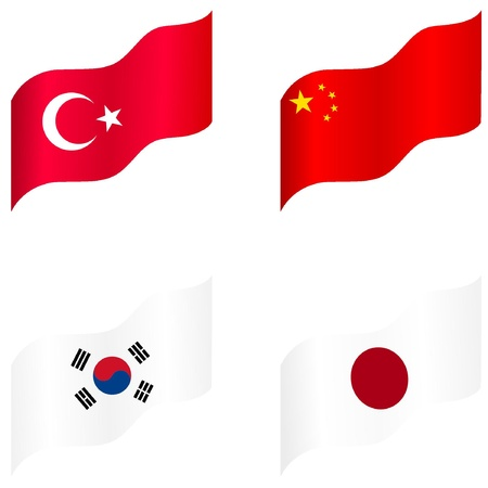 Set of flags of Japan, China, Korea, Turkey Stock Vector - 12976266