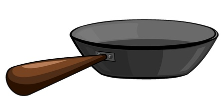 stainless steel kitchen: Cast-iron frying pan Illustration