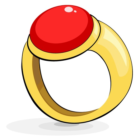 Gold ring with a ruby Vector