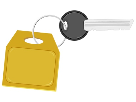 Illustration of the key with a label on the ring Vector