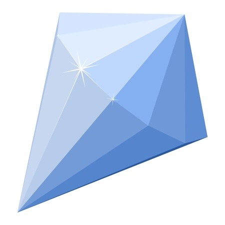 Cartoon illustration of a blue diamond Vector