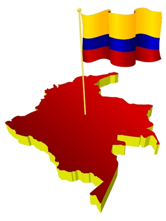 colombia: three-dimensional image map of Colombia with the national flag  Illustration